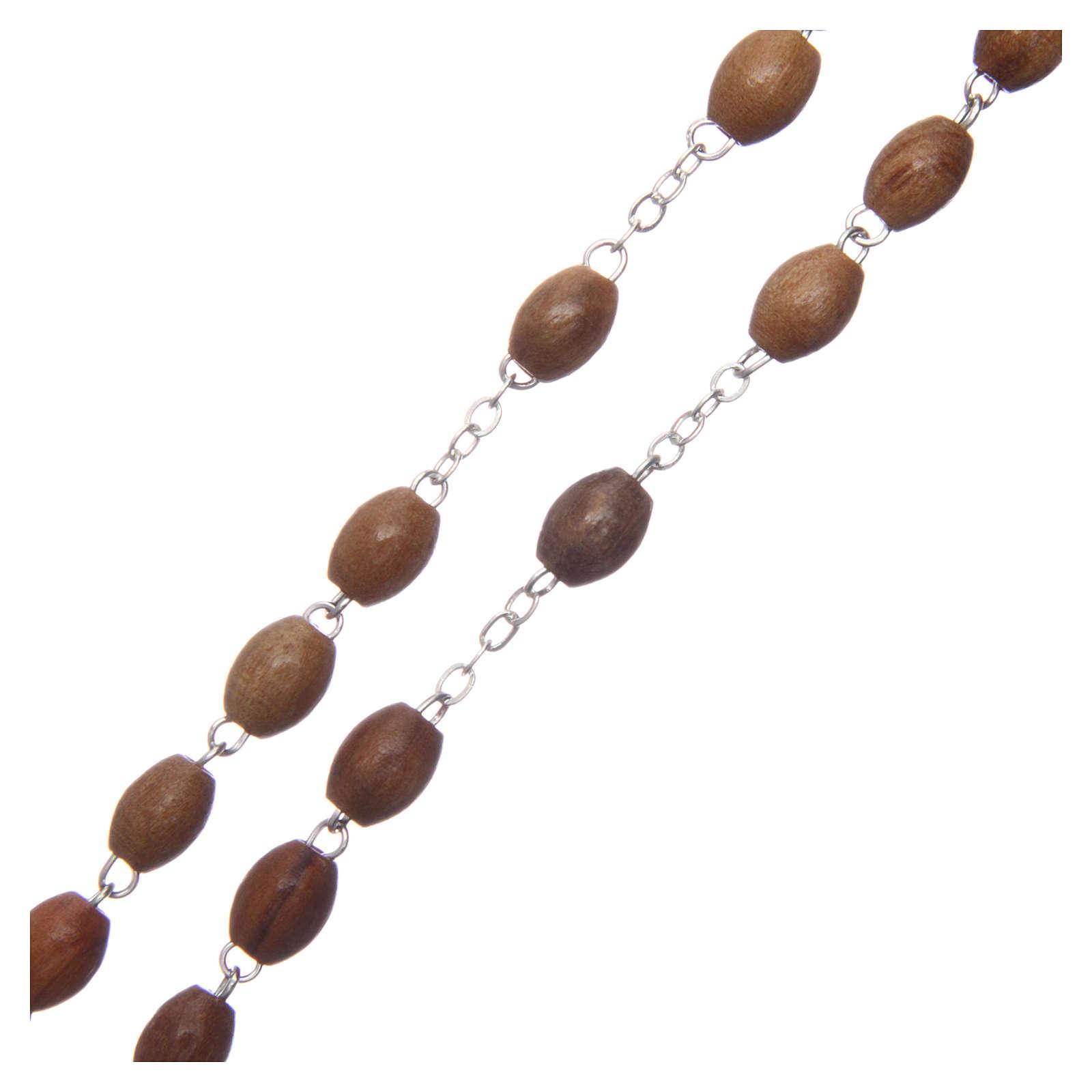 Rosenkranz Olivenholz oval Perlen 8mm 4