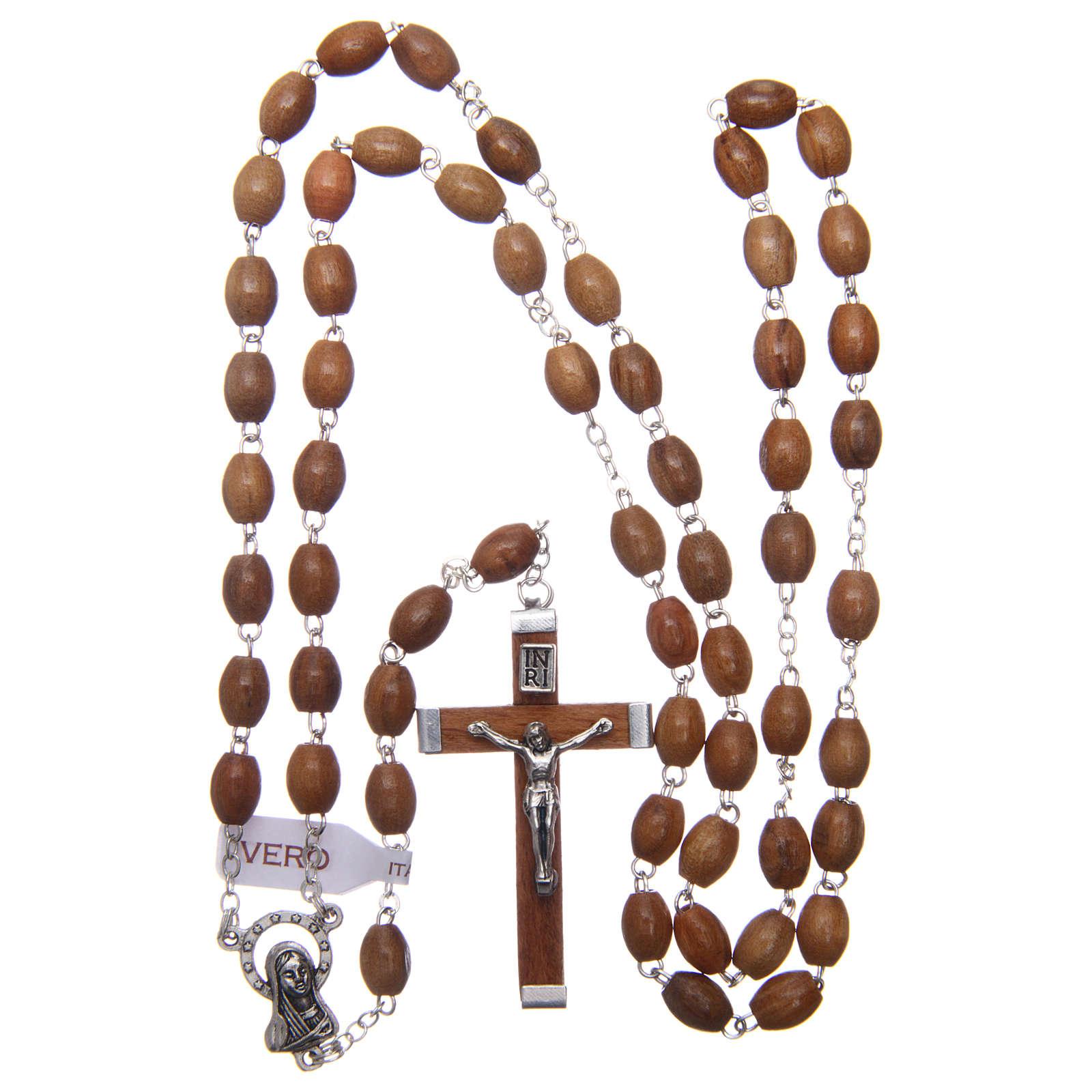 Rosario in vero ulivo grani ovali 8 mm 4