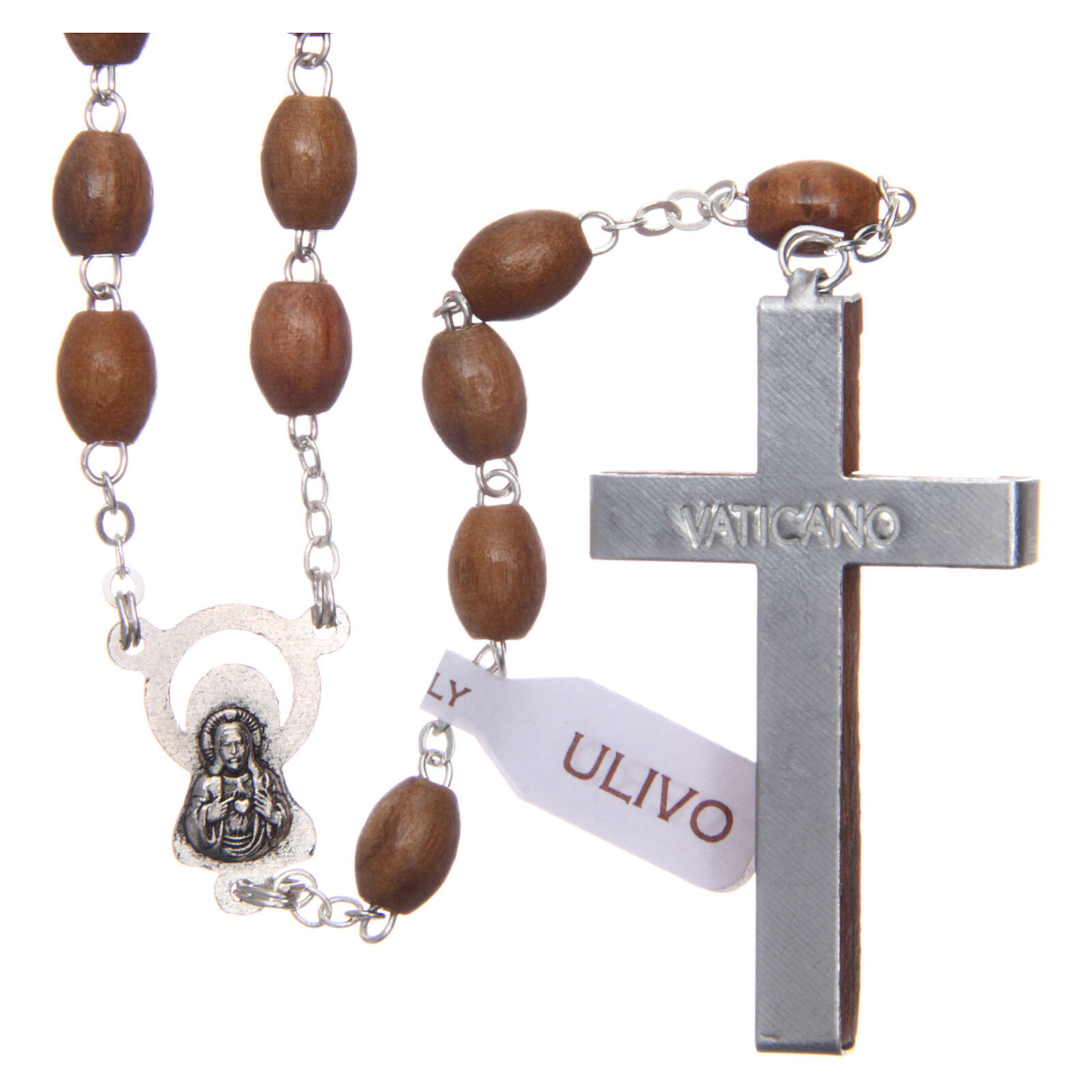 Rosary with oval beads of real olive wood 8 mm 4