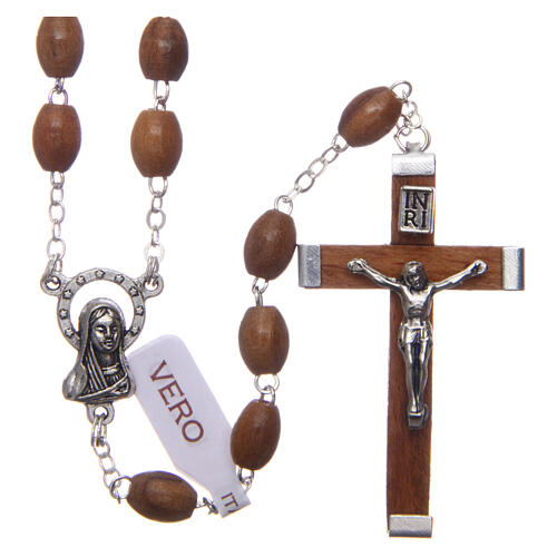 Rosary with oval beads of real olive wood 8 mm 1