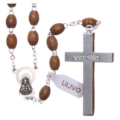 Rosary with oval beads of real olive wood 8 mm 2