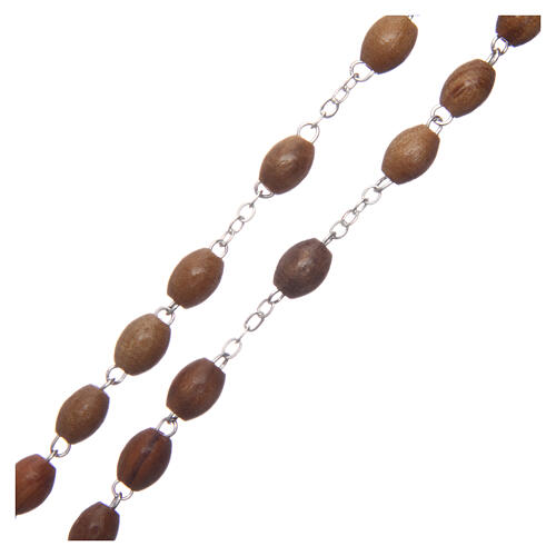 Rosary with oval beads of real olive wood 8 mm 3