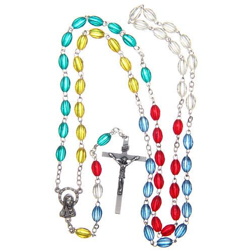 Rosario misionero plástico multicolor ovalado 8x5 mm 4
