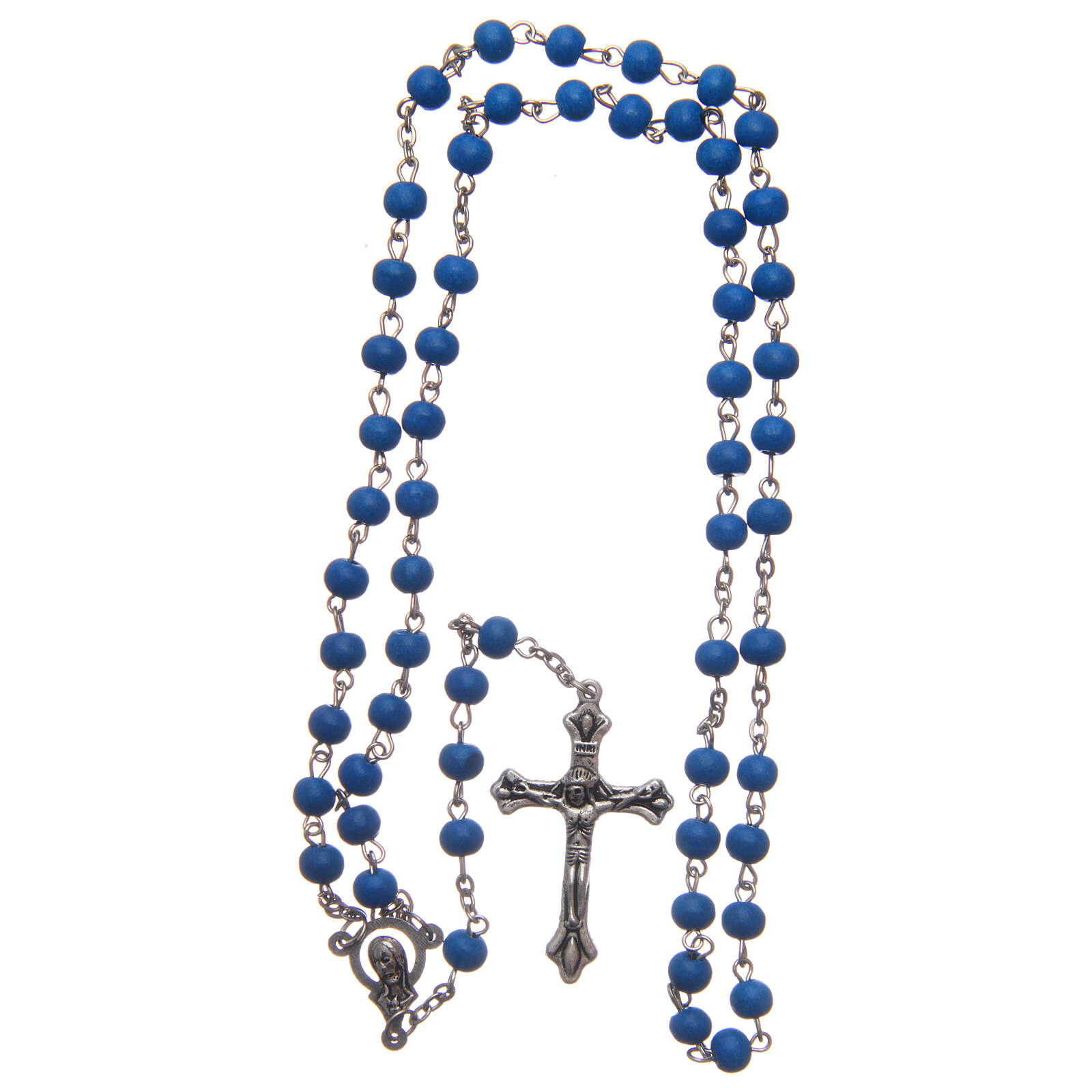 Rosary of blue wood 6 mm 4