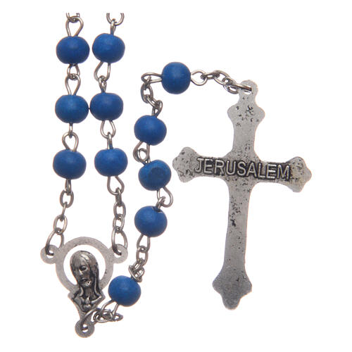 Rosary of blue wood 6 mm 2