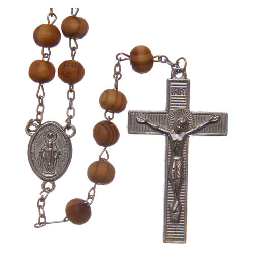 Wearable olive wood rosary 8 mm with medals 1