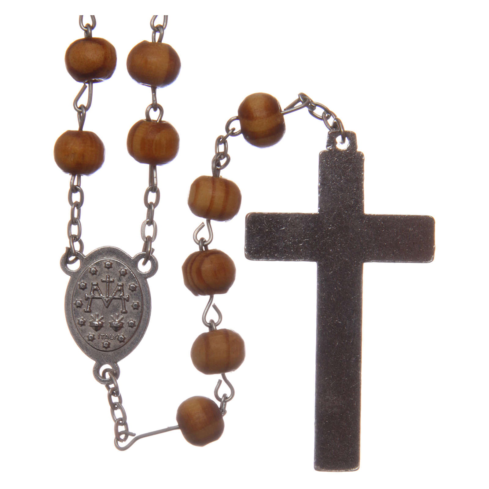 Chapelet collier bois olivier grains 8 mm avec médailles 4