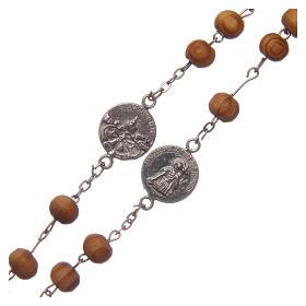 Chapelet collier bois olivier grains 8 mm avec médailles s3