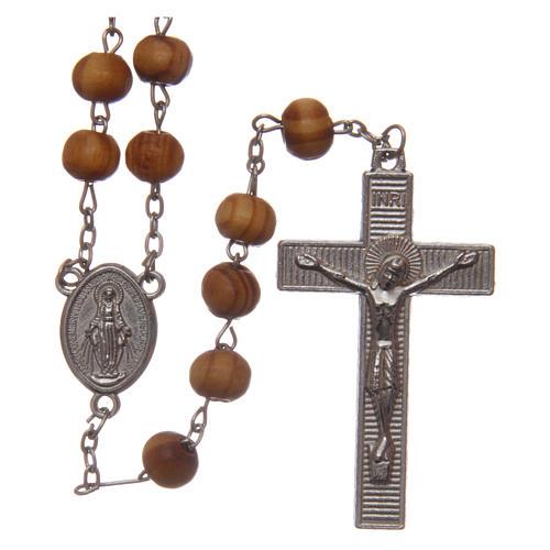 Rosario indossabile legno ulivo grani 8 mm con medaglie 1