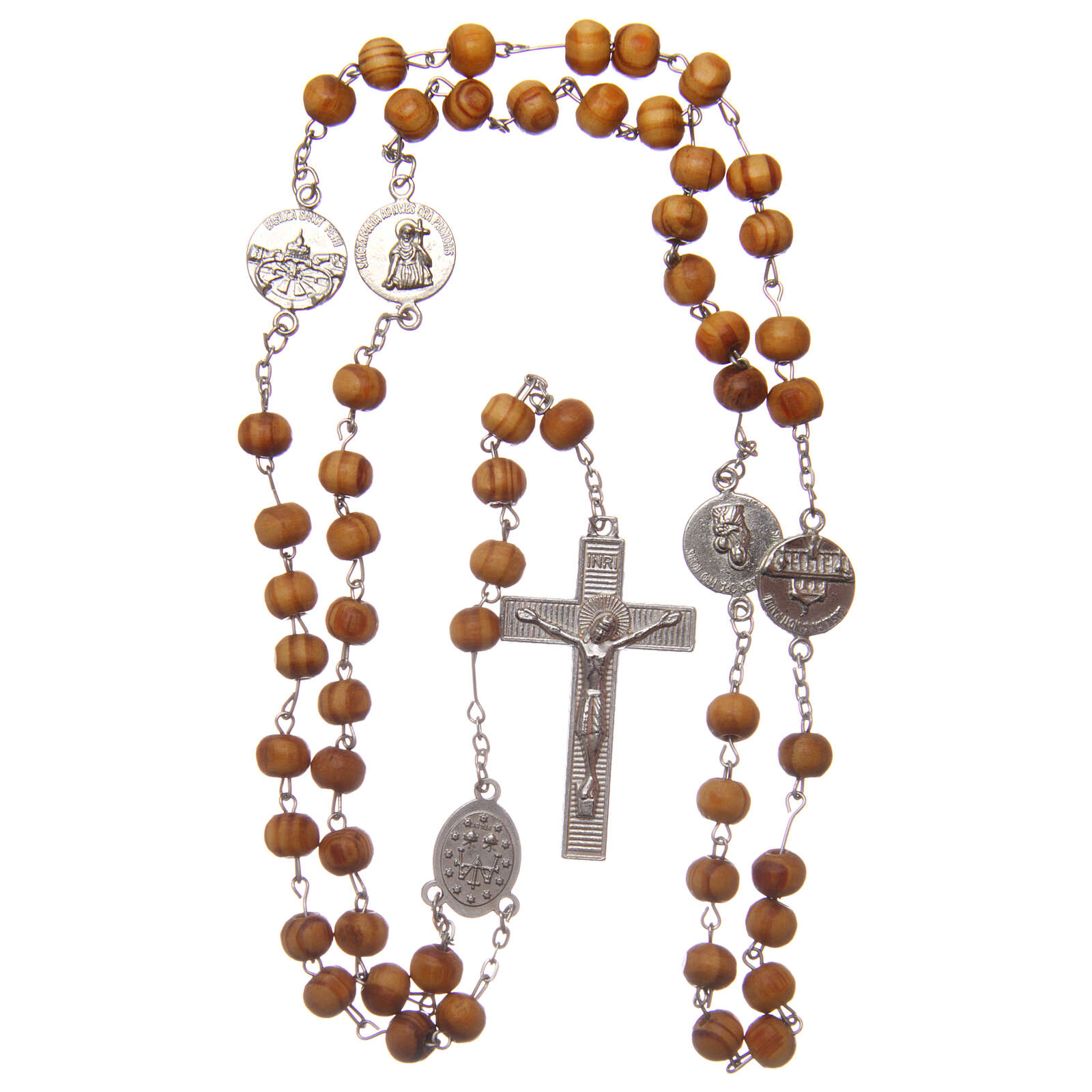 Wearable rosary olive wood beads 8 mm avec medals 4