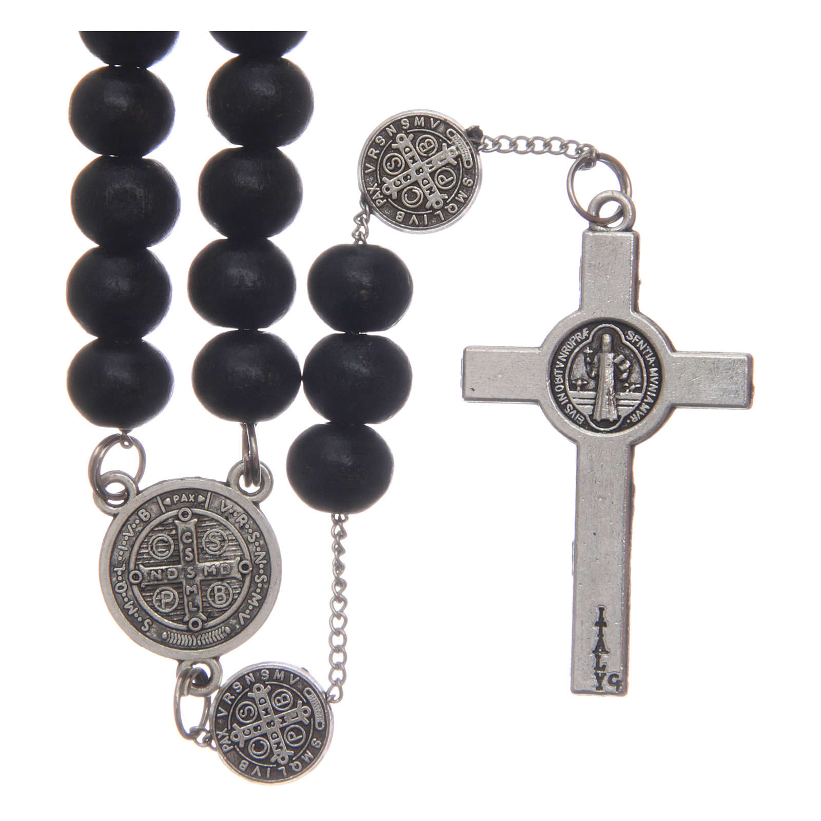 Saint Benedict rosary beads in black wood with medals 4