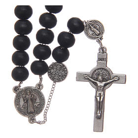 Saint Benedict rosary beads in black wood with medals s1