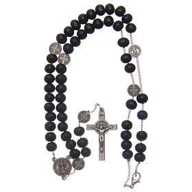 Saint Benedict rosary beads in black wood with medals s4