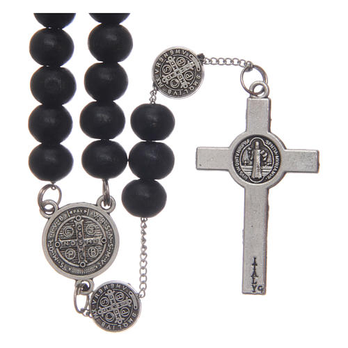 Saint Benedict rosary beads in black wood with medals 2