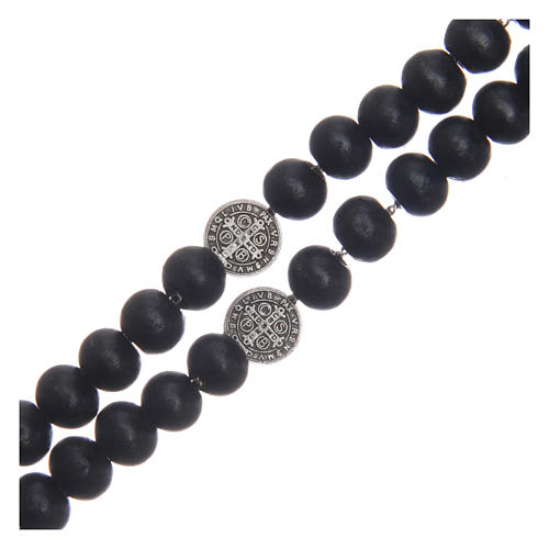 Saint Benedict rosary beads in black wood with medals 3
