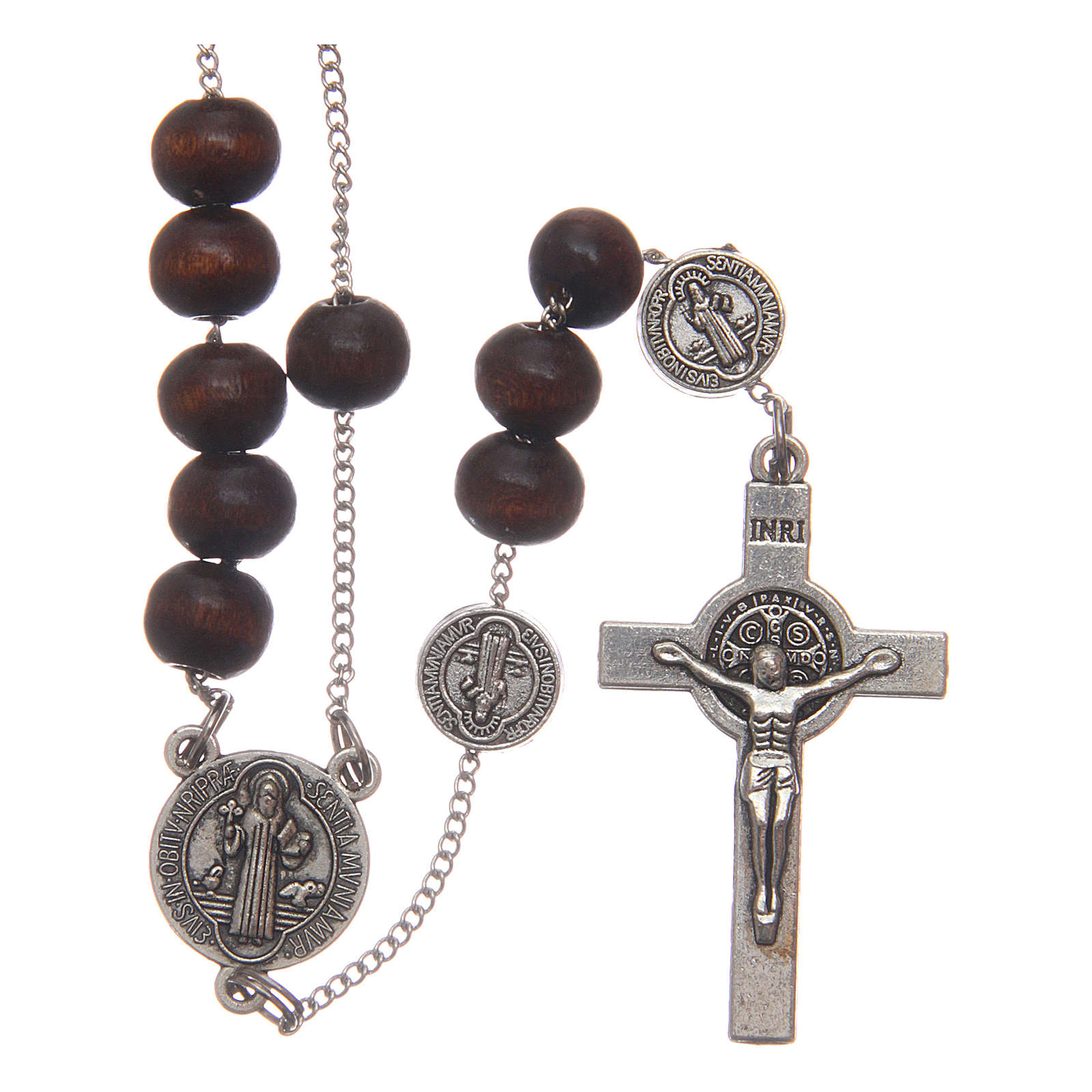 St Benedict brown wooden rosary with 7mm beads 4