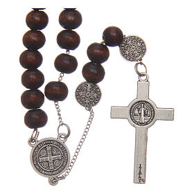 St Benedict brown wooden rosary with 7mm beads s2