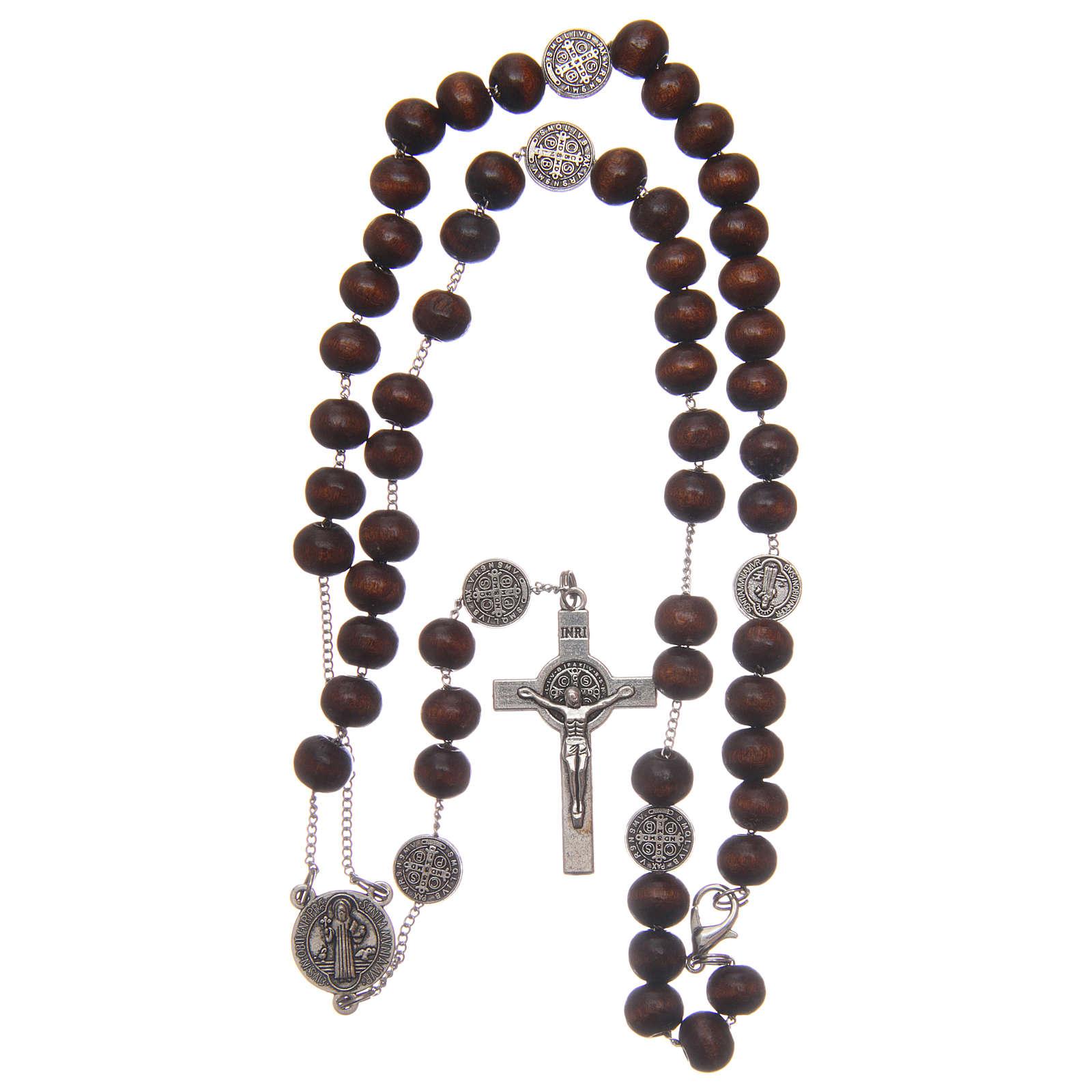 Rosario collar San Benedicto madera marrón granos 7 mm 4