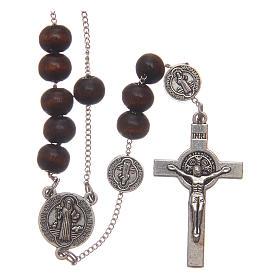Rosario collar San Benedicto madera marrón granos 7 mm s1