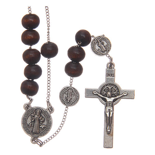 Rosario collar San Benedicto madera marrón granos 7 mm 1
