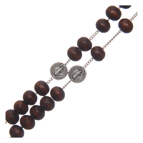 Chapelet collier Saint Benoît bois marron grains 7 mm 3
