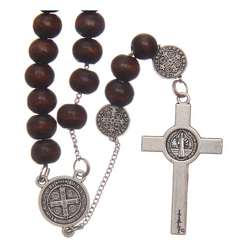 Rosario collana San Benedetto legno marrone grani 7 mm 2