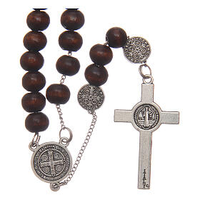 Rosary necklace Saint Benedict brown wood beads 7 mm s2
