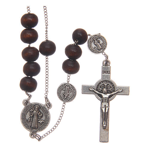 Rosary necklace Saint Benedict brown wood beads 7 mm 1