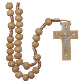Wood rosary round beads 6 mm non-wearable s1