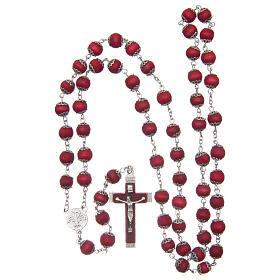 Red wood rosary 9 mm beads and metal bead caps s4