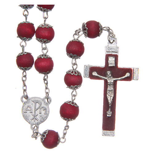 Red wood rosary 9 mm beads and metal bead caps 1
