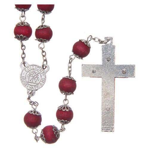 Red wood rosary 9 mm beads and metal bead caps 2