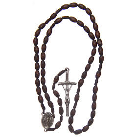 Wood rosary oval brown beads 5 mm s4