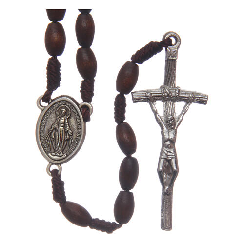 Wood rosary oval brown beads 5 mm 1