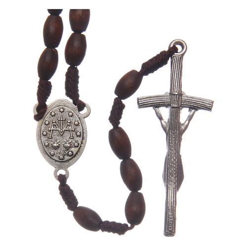 Wood rosary oval brown beads 5 mm 2