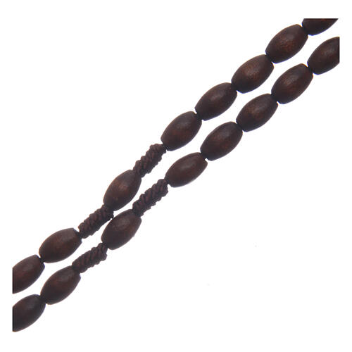 Wood rosary oval brown beads 5 mm 3