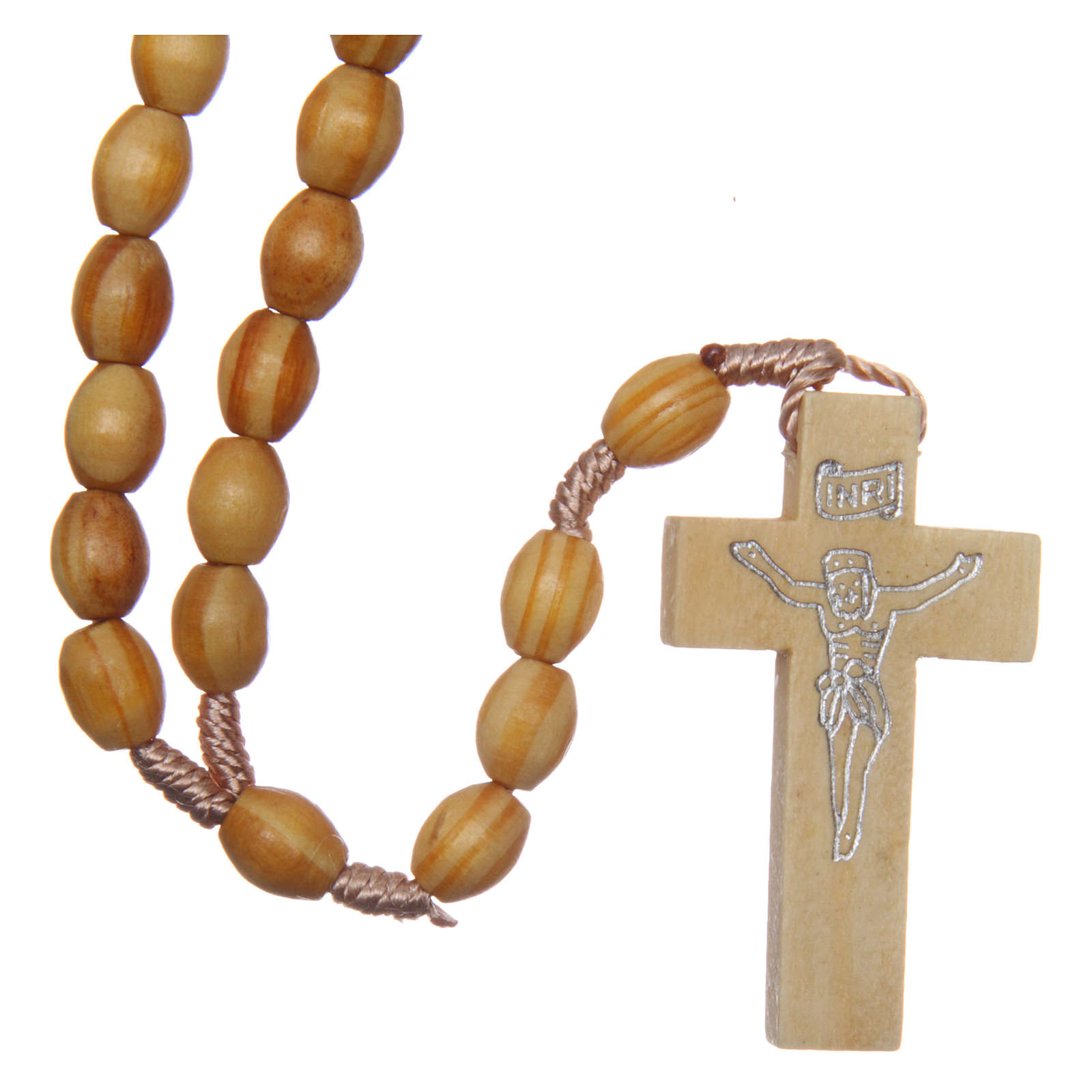 Rosary with oval beads in olive tree wood 5.5 mm 4