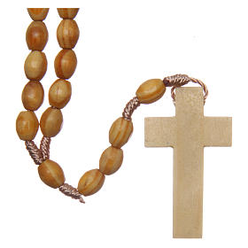 Rosary with oval beads in olive tree wood 5.5 mm s2