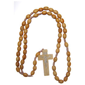 Rosary with oval beads in olive tree wood 5.5 mm s4