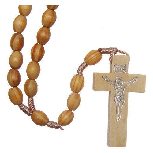 Rosary with oval beads in olive tree wood 5.5 mm 1