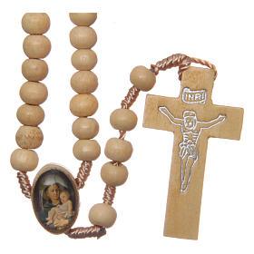 Rosario con granos de madera y cruce San Antonio 5 mm s1