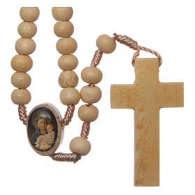 Rosario con granos de madera y cruce San Antonio 5 mm s2