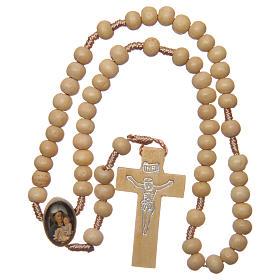 Rosario con granos de madera y cruce San Antonio 5 mm s4