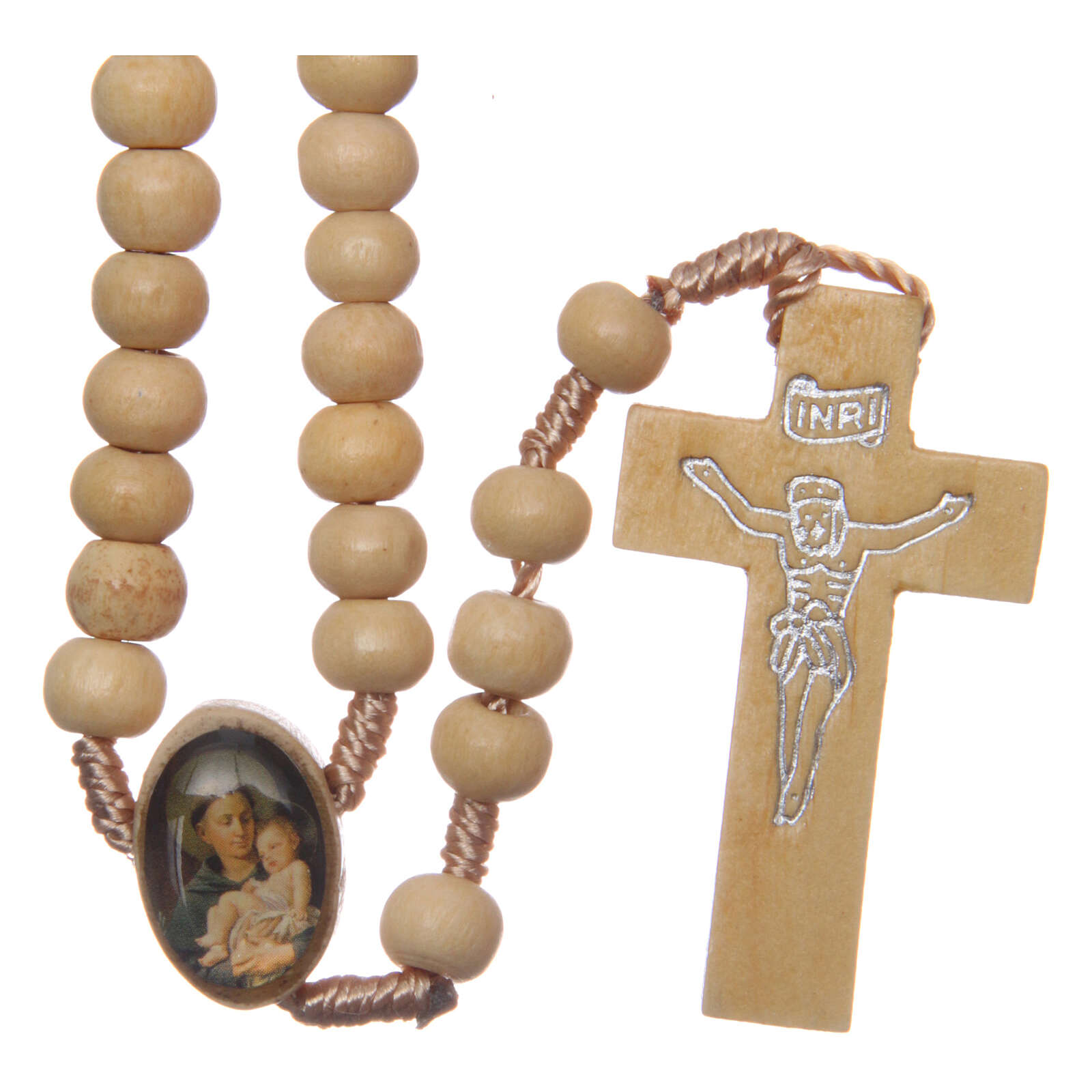 Rosary with wood beads and Saint Anthony medal 5 mm 4