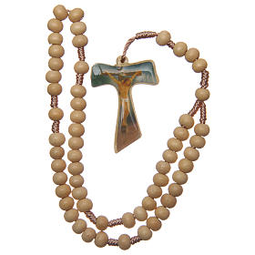 Rosario madera engarce seda cruz tau 5 mm s4