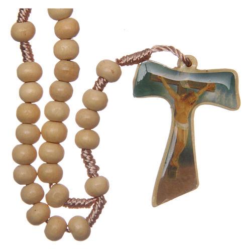 Rosario madera engarce seda cruz tau 5 mm 2