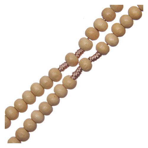 Rosario legno legatura seta croce tau 5 mm 3