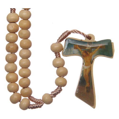 Wood rosary silk cord Tau cross 5 mm 1