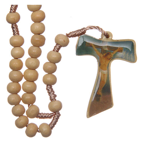 Wood rosary silk cord Tau cross 5 mm 2