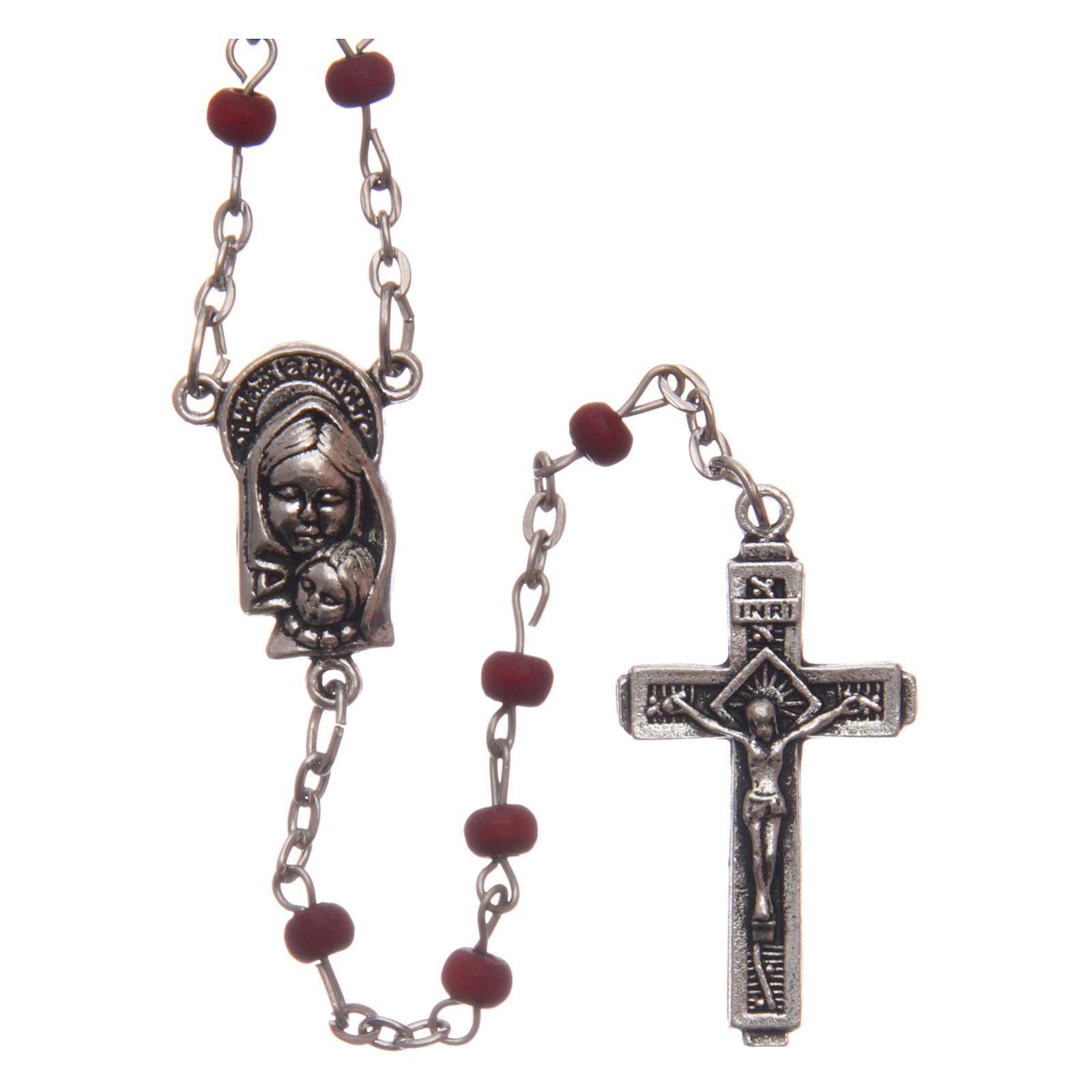 Wooden rose petal rosary, 4mm 4